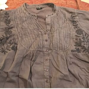 Heather Gray Boho Embroidered Blouse